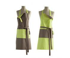 COUCKE Recto Verso - Delantal Reversible (algodón, 78 x 96 cm), algodón, Verde Kiwi/marrón trufa, 78 x 96