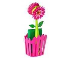 VIGAR Flower Power Set Fregadero con Cepillo y Esponja, Multicolore, Rosa, Dimensiones: 11 x 6,5 x 25 cm