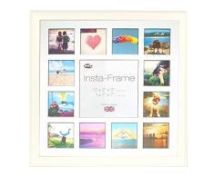 Inov8 16 x 40,64 cm Insta-Frame Austen Marco para Instagram 13/de Estampado a Cuadros de Fotos con paspartú Blanco y Negro con Borde, 2 Unidades, Gris Claro