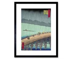 Wee Blue Coo Utagawa Hiroshige - Cuadro de Pared con Marco de Estilo japonés Shin Ohashi Bridge 1856