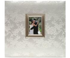 MBI Floral Fabric - Cuadro con marco de metal y encuadernado de tela con motivos florales (30,4 x 30,4 cm)