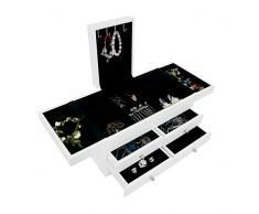 Sotech - Mueble para Joyas con Cajones, Caja para Joyas con Compartimentos, 35 x 20 x 18 cm, Blanco, Material: MDF, Numero de sostenes de anillos: 1 cajón