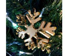 Super Cool Creations Copo de Nieve Dorado Espejo árbol de Navidad Decoraciones - Pack de 10
