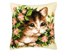 Vervaco - Kit para cojín de punto de cruz, diseño de gato y flores, multicolor