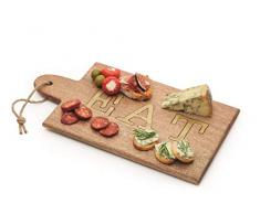 Artesà - Tabla de queso rectangular de madera con letras decorativas, 38 x 20,5 cm, color marrón
