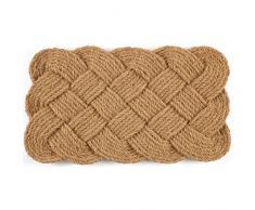 Entryways Felpudo de fibra de coco entrelazada hecho a mano, marrón