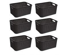 BranQ - Home essential Cesta en Rattan Design 6er Set, plástico PP, Antracita, 28,8 x 19,7 x 16,2 cm (LxBxH)