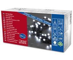Konst Smide 3691-207 - Guirnalda de luces LED (80 bombillas, luz blanca fría, transformador exterior de 24 V), color negro