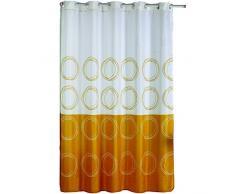 MSV cortina de ducha de poliéster 140786 redonda de plástico blanco/dorado, 180 x 200 x 0,1 cm - incluye 12 anillas para barra de cortina
