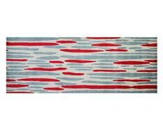 Estilo de Vida Mat 1503Â Agua Caso Alfombra de Pasillo, Lavable y Antideslizante, Microfibra, Rot/Grau/Beige, 67x170cm
