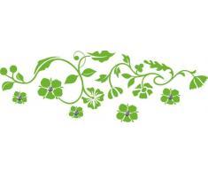 Graz Design 970058_45_063 - Adhesivo de pared con 5 ganchos para ropa (130 x 45 cm), diseño de hojas y flores, color verde