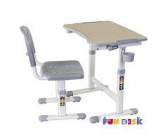 FD FUN DESK Grey Idimex Piccolino II-Escritorio Infantil (Altura Regulable, con Silla), Color Gris, 664x474x540-760 mm
