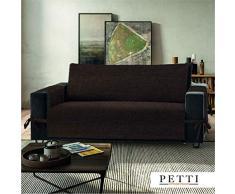 PETTI Artigiani Italiani Funda de Sofa, Tela, Marrón, 3 Plazas (170-175 cm de apoyabrazos a apoyabrazos)