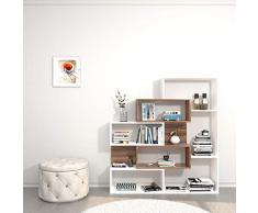 Theta Design by homemania estantería, librería ERA, Blanco/Ciruelo