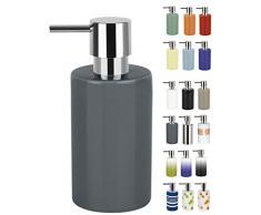Spirella 7,0 x 7,0 x 16,0 cm, Gris colección Tube, Dispensador de jabón líquido, Gres