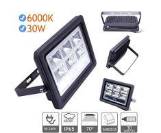 Foco proyector led de 20W a 200W exterior IP65 luz blanca cfria 6000K apertura 70º, marco aluminio negro a 220-240V (30)