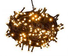 Cadena de luces LED con 240 ledes en color ámbar, en una práctica caja con asa, para fiestas, Navidad, decoración, bodas, como luz de ambiente, aprox. 21 m.