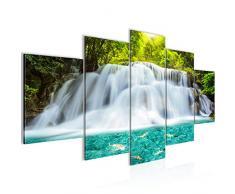 Imagen de cascada paisaje cuadro de pared lienzo XXL formato pared imágenes de salón vivienda decoración impresiones de arte verde 5 piezas – Fabricado en Alemania – listo para colgar 603553a