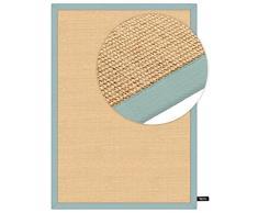 benuta Sisal Teppich mit Bordüre Blau 120x180 cm   Naturfaserteppich für Flur und Wohnzimmer Alfombra, Azul, 120 x 180 cm