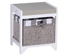 Wohnling ropa para banco con 1 cesta de mimbre y de la cubierta de asiento en colour gris y banco de nuevo WL1, 194