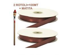 Armario bomboneras 2rollos de cinta de RASO 3mm Marrón 2rotoli = 100metri + 1lápiz