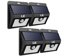 LE Foco Solar 30 LED 400lm, Resistente al agua IP65, Sensor de movimiento, 3 Modos, Lámpara solar Jardín, Patio, Terraza, Garaje, Camino de Entrada, Escaleras, Pack de 4