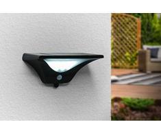 LED LOVERS Foco de luz LED solar, Lámpara solar para exteriores, Con Sensor de movimiento 8 m, 23 LED blancos fríos, Inalámbrica, Color negro, 224 x 108 x 112 mm