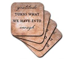 3dRose CST_200682_3 Gratitude Convierte lo Que Tenemos en Posavasos de cerámica para Azulejos, Juego de 4