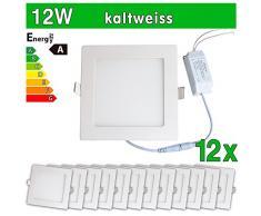 12 x LEDVero funda utlrafina Panel LED 2835 SMD 12 W cuadrado luz blanca fría luz ultrafino para techo