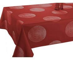 Le linge de Jules Mantel Antimanchas Cercles Rojo - tamaño : Rectangular 150x240 cm
