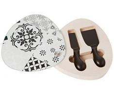 Brandani 53192 Alhambra - Tabla de cortar (cristal/madera, 2 cuchillos de queso, multicolor)