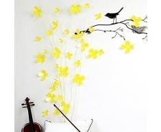 Walplus Amarillo de flores en 3d pegatinas de pared removible adhesivo mural arte Adhesivos Vinilo decoración del hogar bricolaje Salón Dormitorio Decoración Pared habitación de los niños regalo, 9x 9cm