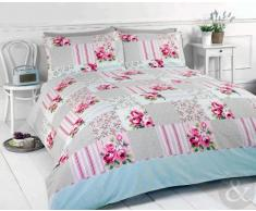 Just Contempo - Juego de funda nórdica y dos fundas de almohada, diseño de retales y flores, multicolor, mezcla de algodón, beige/rosa, funda de edredón cama individual (infantil)