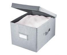 iDesign Codi Cesta de Tela con Tapa, Caja Organizadora de Poliéster Grande, Gris, 28,6 cm x 39,4 cm x 24,8 cm