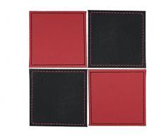 Creative Tops - Posavasos reversibles de piel sintética, 4 unidades, color negro y rojo