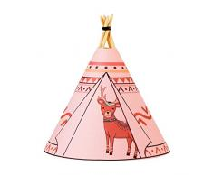 Pauleen 48029 Twinkle Tipi Deer, luminaria de sobremesa con Pilas, lámpara Infantil LED Rosa, Reno, Tela/Madera