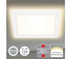 Briloner Leuchten Panel LED, lámpara de techo con efecto de retroiluminación, 12 vatios, 1400 lúmenes, 4000 Kelvin, blanco, cuadrado, 19x19 cm, W, 19x19cm
