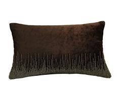 AM Home - Almohada de Terciopelo Plateada para Insertar Plumas, algodón, Color marrón, Queen