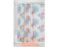 InterDesign Elsa SC Cortina de baño | Cortina para bañera o plato de ducha, 183 x 183 cm | Preciosa cortina de ducha con estampado de flores pastel | Poliéster de colores/coral