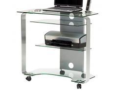 Jahnke CU de Mr 200 S klgl,/aluminio pulido de esquina mesa para ordenador, de cristal de seguridad monocapa, Klarglas, 80x 76x 53cm