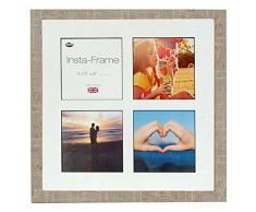 Inov8 16 x 40,64 cm Insta-Frame Marco de Fotos de Madera para 4 Instagram/de Estampado a Cuadros de Fotos con paspartú Blanco y Negro con Borde, 2 Unidades, Piedra