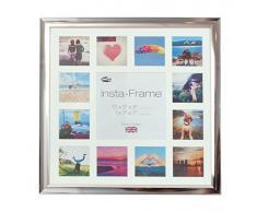 Inov8 16 x 40,64 cm Insta-Frame Marco para Instagram 13/de estampado a cuadros de fotos con paspartú blanco y blanco con borde, acabado cromado