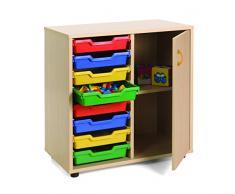 Mobeduc 600211HPS18 - Mueble infantil bajo/cubetero y armario, madera, color haya, 70 x 40 x 76.5 cm