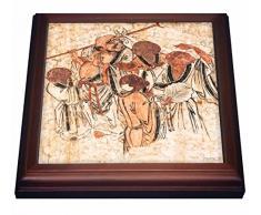 3dRose - Cuadro de pared, diseño de patillas de Shaolin, cumpleaños de Kung Fu, canción Shan, cerca de Zhengzhou, provincia de Henan, azulejos chinos, 8 por 8 pulgadas, cerámica, marrón, 19,05 x 2,22 x 19,05 cm