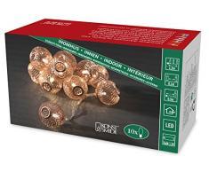 Konstsmide LED guirnalda, bolas metálicas de color cobre, 10 diodos de luz blanca cálida, funciona con pilas, interior, 3 x AA 1,5 V exklusive, cable transparente 3145-603