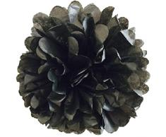 Matissa Pack de 10 Pompones de Papel de Seda de 35 cm, Bolas de Flores Hechas a Mano para decoración de Boda, Fiesta (Negro)