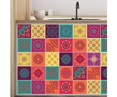 Walplus WT1009-Colourful Mandala Tiles - Adhesivos Decorativos para Pared (10 x 10 x 24 cm), Diseño de Azulejos, 10 x 10 x 0,02 cm, Mezclados