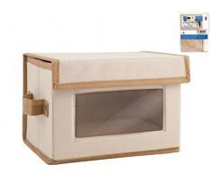 Home Caja de Almacenamiento, 23Â x 16Â x 16Â cm, Tela, Transparente/Crudo