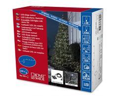 Konstsmide 3656-200 - Guirnalda de micro led para árbol de Navidad (con transformador y distribuidor para 4 guirnaldas hasta 44,60 m, 100 diodos de color blanco frío, transformador exterior de 24 V, cable negro)
