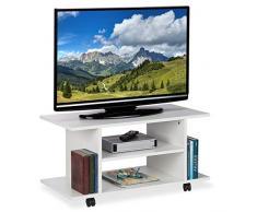 Relaxdays Mueble TV Ruedas, 4 Compartimentos Abiertos, Mesa Televisión, Tablero de Partículas, 40 x 80 x 40 cm, Blanco